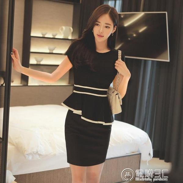 夏季新款女裝荷葉邊裙子黑白拼接工作服短袖顯瘦OL職業洋裝 聖誕節免運