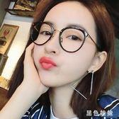 防輻射眼鏡女平光鏡男無度數抗藍光手機電腦保護眼睛圓臉近視框架 qf3302【黑色妹妹】