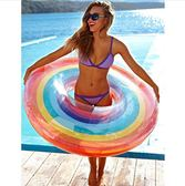 ins水晶彩虹水果泳圈 超可愛彩虹成人救生圈 游泳圈戲水玩具igo 范思蓮恩