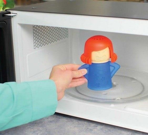廚房用品  生氣媽媽微波爐清潔器 廚房清潔 微波爐 油污清潔 可愛娃娃 【KFS041】-收納女王