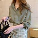 七分袖襯衣女夏季薄款2021新款洋氣寬松甜美氣質棉麻襯衫溫柔上衣