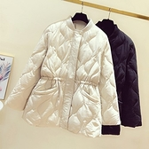 羽絨夾克-白鴨絨-立領短款鬆緊收腰女外套2色73zc18【時尚巴黎】