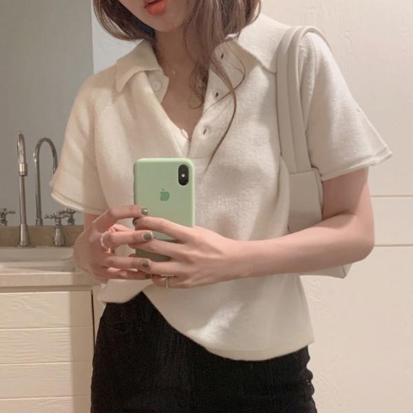 白色短款針織衫薄款女Polo領短袖寬松上衣2021春夏新款打底衫毛衣