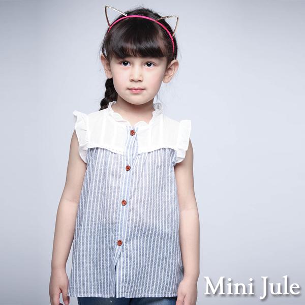 童裝 上衣 花邊領點點直紋荷葉袖襯衫(藍)