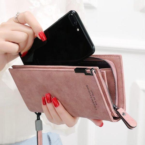 KQueenStar新款女士錢包 女長款日韓拉錬搭扣簡約手包學生錢夾