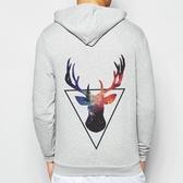 Triangle-Deer金屬拉鍊連帽刷毛外套-灰色 鹿三角形銀河宇宙潮文青太空時尚流行999 Gildan