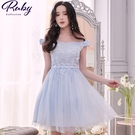 洋裝 一字領鉤花流蘇馬甲短袖禮服洋裝-Ruby s 露比午茶