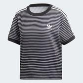 ADIDAS ORIGINALS 3-STRIPES 女裝 短袖 休閒 慢跑 基本 復古 條紋 寬鬆 黑 白【運動世界】DU9869