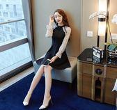 秋裝女新款修身顯瘦氣質名媛小禮服拼接撞色燈籠袖蕾絲連身裙【卡米優品】