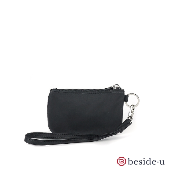 beside u BNUAS 素面手拿包卡片夾零錢包隨身包附手腕帶- 黑色 原廠公司貨