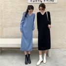 (下殺)寬鬆法式V領氣質打底內搭中長版針織連身裙女【08SG04795】