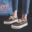 帆布鞋 設計感小眾豹紋帆布鞋女2021春季新款ulzzang韓版百搭板鞋