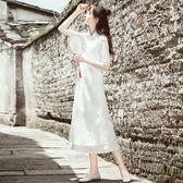 全館8折上折明天結束茶服女茶人服古箏演出服中國風民國風女裝成人棉麻連衣裙中式復古