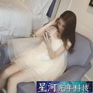網紗洋裝 歐根紗連身裙a字蓬蓬裙白色很仙的裙子夏款網紗小個子無袖公主裙 星河光年