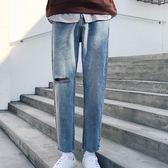 新款破洞韓版潮流寬鬆牛仔褲