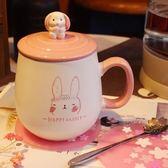 【手繪兔子B款 瓷蓋 櫻花勺 櫻花墊】可愛兔子陶瓷杯子
