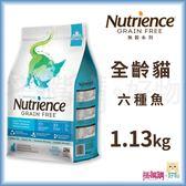 Nutrience紐崔斯『 無穀養生貓 (六種魚)』1.13kg(2.5lb)【搭嘴購】