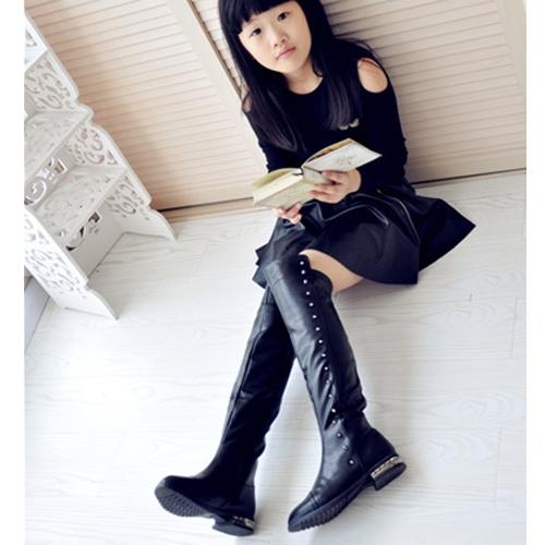 【Ocleather】搖滾蘿莉鉚釘秋冬保暖加絨亮皮革過膝長靴(黑色兒童款)