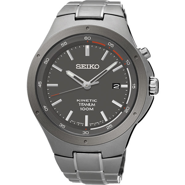 SEIKO 精工 Kinetic 鈦 科技人動電能手錶-銀灰/43mm 5M82-0AT0G(SKA713P1)