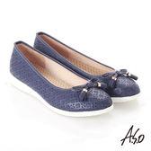 A.S.O 輕量休閒 全真皮壓紋蝴蝶結飾休閒鞋  藍
