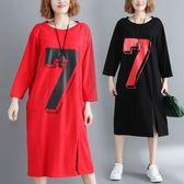 中長款T恤裙連身裙休閒寬鬆秋季寬鬆舒適顯瘦長袖大碼印花連衣裙3F061-9207