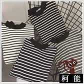T恤【8236】半高領條紋撞色長袖T恤女內搭上衣秋冬