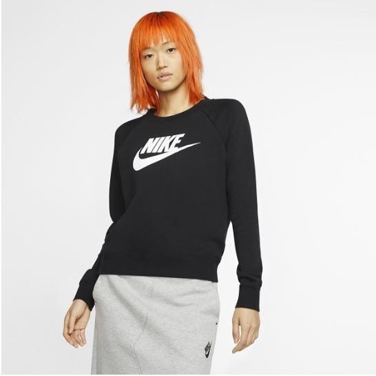 NIKE服飾系列-NSW ESSNTL CREW FLC HBR 女款黑色長袖針織運動衫-NO.BV4113010