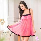 甜美粉紅雪紡平口細肩帶二件式性感睡衣  SEXYBABY 性感寶貝  貨號:NA16020139