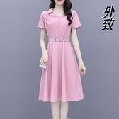 中大尺碼襯衫洋裝 女士短袖連身裙女夏裝新款修身顯瘦氣質小個子減齡洋氣中裙子 3C數位百貨