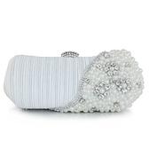 珍珠晚宴包-名媛氣質時尚鑲鑽女手拿鏈條包4色71as29[巴黎精品]