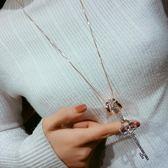 衣服掛飾韓國鑰匙項錬秋冬長款毛衣錬配飾裝飾女吊墜百搭掛件個性 薔薇時尚