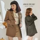 西裝外套 Space Picnic|琥珀釦挺版墊肩西裝外套(預購)【C21031000】