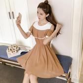 裙子女夏裝新款初中高中學生韓版學院風中長款露肩短袖連身裙