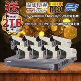 海康威視 優惠套餐DS-7208HQHI-K1 500萬畫素 監視主機+TW16D0T-IT3戶外型攝影機*8 不含安裝