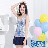 【SUMMERLOVE夏之戀】繽紛款假兩截連身帶裙泳裝-S15727