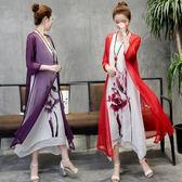 春夏復古民族風棉麻連身裙兩件式女水墨印花顯瘦雪紡中長裙子洋裝 檸檬衣捨