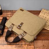 商務包 手提包橫款商務單肩包帆布斜挎包休閒公文包14寸電腦包