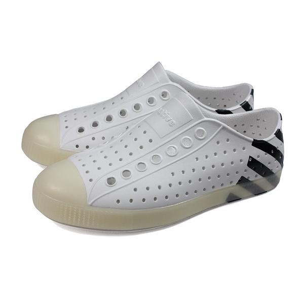 native 休閒鞋 洞洞鞋 白/黑條紋 男女鞋 11100102-8985 no030