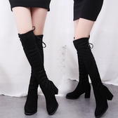 過膝長靴女2020秋冬新款百搭韓版高筒女靴子粗跟長筒高跟瘦腿長靴 源治良品