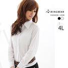 襯衫--俐落基本款素面剪裁百搭長袖襯衫(白.黑S-4L)-H33眼圈熊中大尺碼★