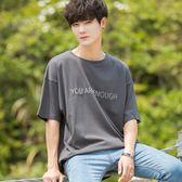 秋冬韓版寬鬆短袖T恤男日系純色個性印花五分袖T恤青少年