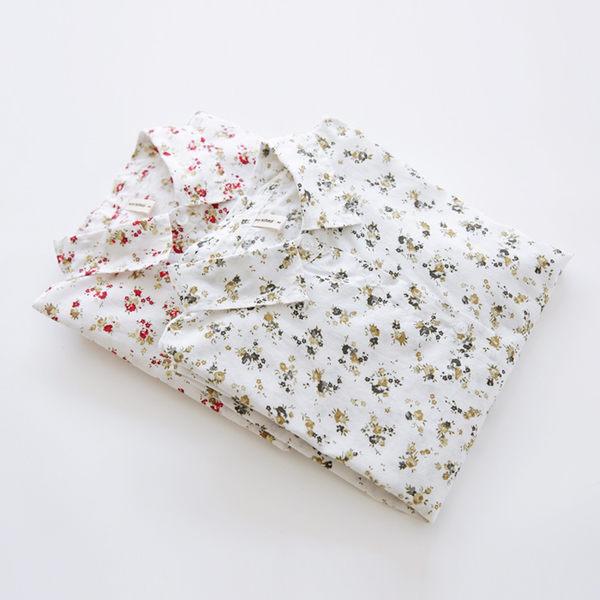 上衣 日森翻領純色簡約花草印花二碼-月兒的綺麗莊園