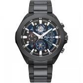 【台南 時代鐘錶 POLICE】義式潮流 WADDEN三眼日期腕錶 15654JSB-03M 黑 47mm