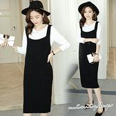 孕婦裝 MIMI別走【P31361】幸福的相遇 兩件式洋裝 上衣+毛衣背心裙 孕婦套裝