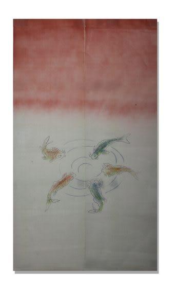 門簾玄關隔斷簾風水簾年年有魚(90cm*150cm/白紅色)