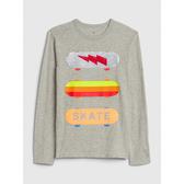 Gap男童童趣印花圓領套頭T恤525076-亮麻灰色