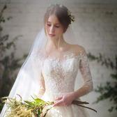 婚紗禮服新款韓版新娘結婚一字肩長袖蕾絲拖尾顯瘦齊地夏季女【全館滿一元八五折】