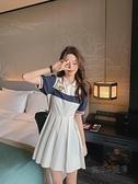 新款韓版洋氣小清新學院風可鹽可甜翻領短袖連身裙高腰顯瘦百褶裙 夏季狂歡