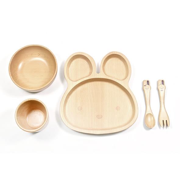 SADOMAIN 山毛櫸兒童餐具禮盒-兔兔