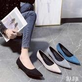 小高跟鞋女2020夏季新款絨面3cm細跟OL職業上班鞋低跟大碼單鞋 LR22461『麗人雅苑』